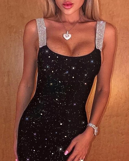 Glitter Thick Strap Party Dress