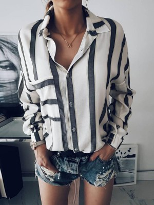 Fashion Women Buttoned Stripe Print Blouse