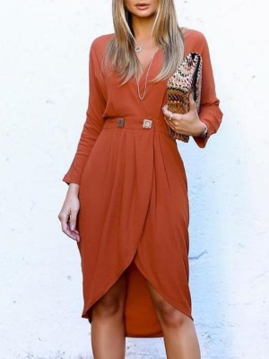 Sold Long Sleeve Wrapover Hem Casual Dress