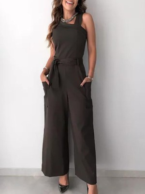 Solid Pocket Design Self Belted Jumpsuit