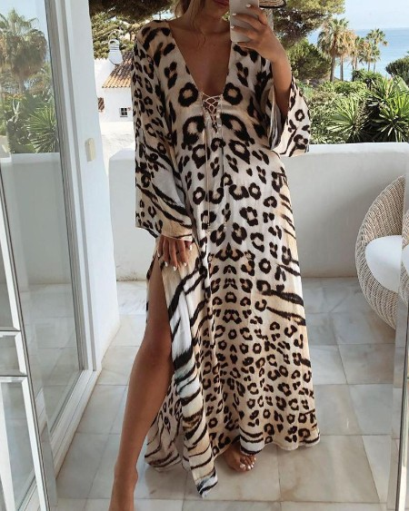Cheetah Print Lace-up High Slit Maxi Dress