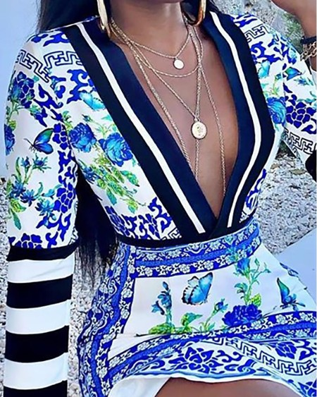 Plunge Striped Porcelain Print Ruffles Dress