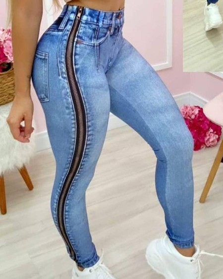 High Waist Zipper Design Skinny Jeans