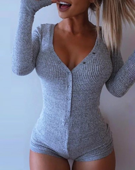Solid V-neck Long Sleeve Romper
