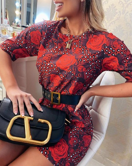 Floral Cheetah Print Short Sleeve Casual Dress