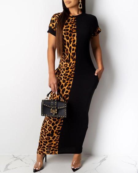 Leopard Patchwork Short Sleeve Dress