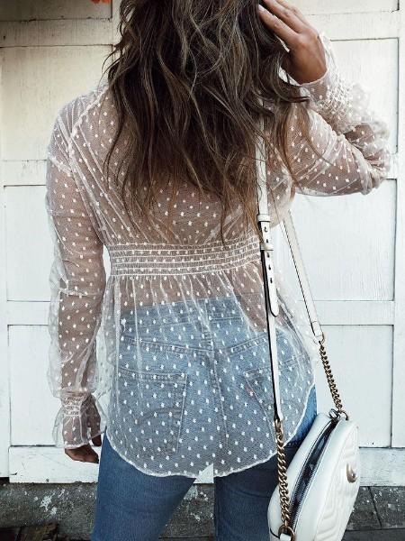 Sheer Dots Bell Sleeve Blouse