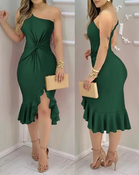 Plain One Shoulder Ruffle Hem Twist Slit Dress