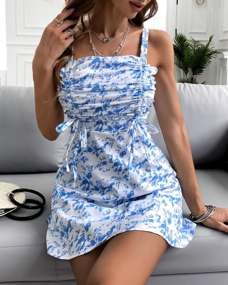 Drawstring Ruched Thin Strap Tie Dye Print Dress