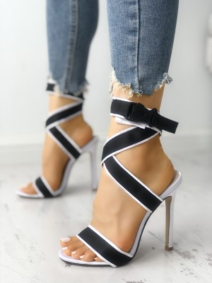 Open Toe Crisscross Bandage Stiletto Sandals