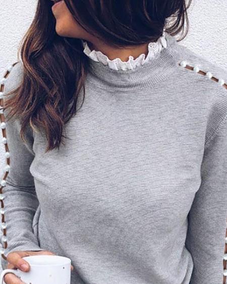 Beaded Long Sleeve Ribbed Blouse