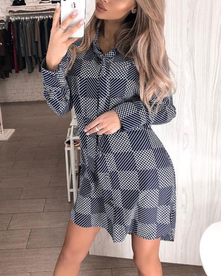 Grid Long Sleeve Tie Detail Casual Dress