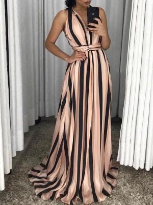 Halter V Neck Striped Twist Waist Maxi Dress