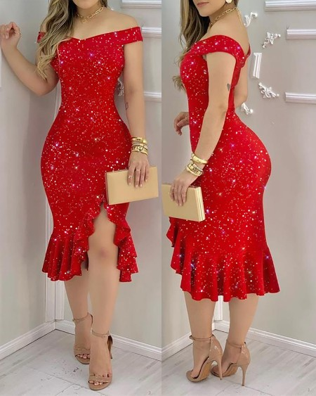 Glitter Off Shoulder Ruffles Slit Dress