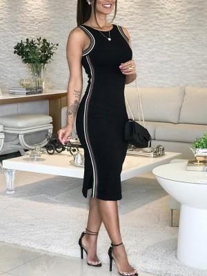 Sleeveless Striped Tape Detail Bodycon Dress