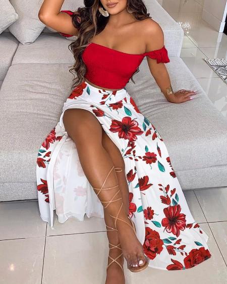 Off Shoulder Ruffles Top & Floral Print High Slit Skirt Set