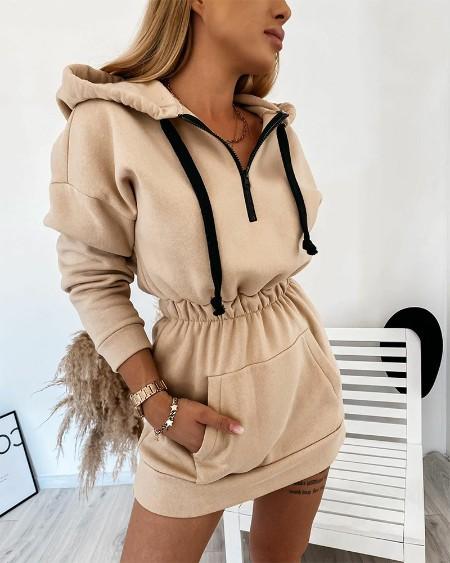 Solid Long Sleeve Loose Hoodies Sweatshirfts Mini Dress