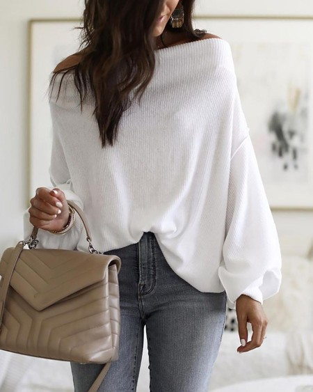 Off Shoulder Lantern Sleeve Ribbed Blouse