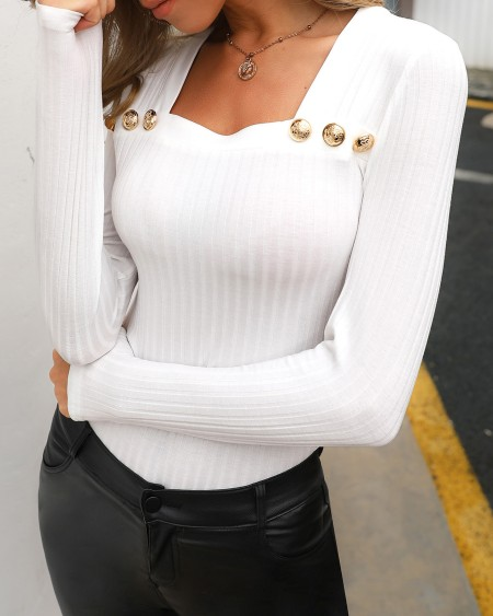 Long Sleeve Button Detail Blouse