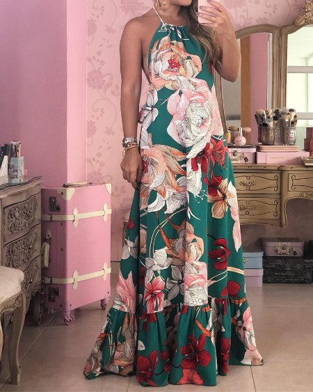 Floral Print Backless Ruffles Halter Maxi Dress