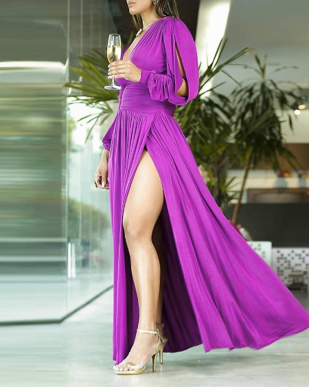 Solid High Slit Plunge Ruched Maxi Dress