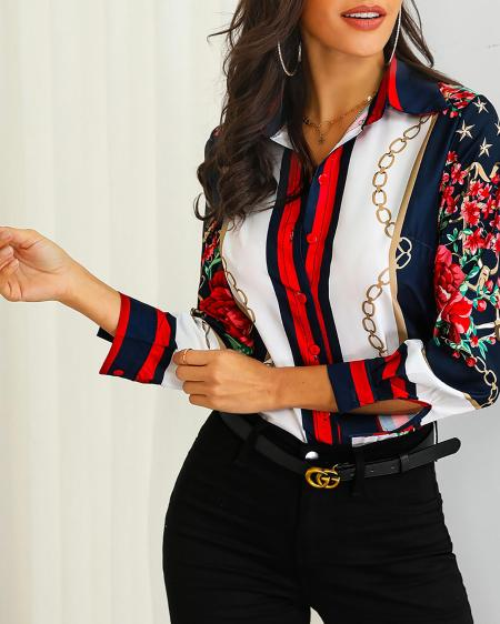 boutiquefeel / Floral & Chains Print Casual Blouse