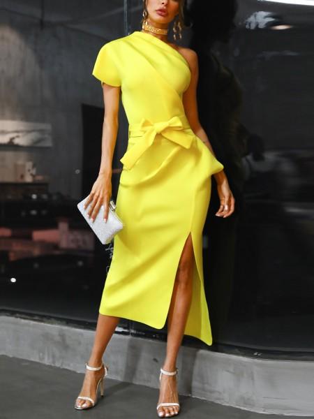 One Shoulder Ruched Irregular Party Dress