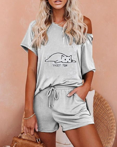 Cartoon Print Short Sleeve T-shirt With Shorts Suit Sets