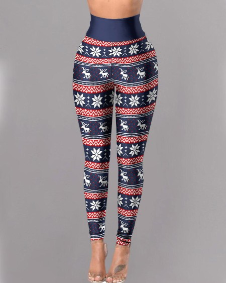High Waist Christmas Print Skinny Pants