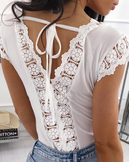 Double V-Neck Hollow Out Lace Insert Top