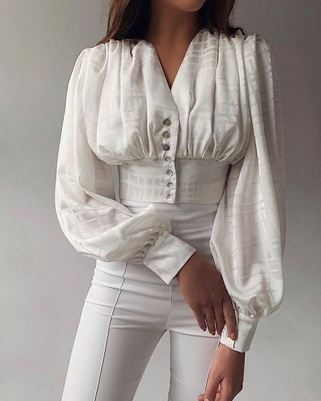 V Neck Button-Up Blouse