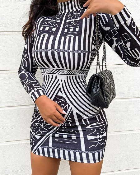 Abstract Print Long Sleeve Bodycon Dress