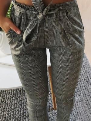 Fashion Plaid Bowtie Slinky Pencil Pants