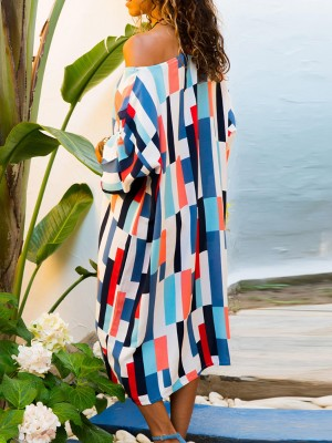 Colorful Stripes Skew Neck Loose Casual Dress