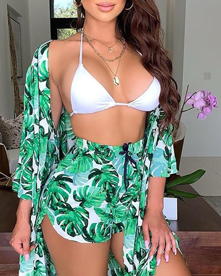 Halter Top & Palm Leaf Print Shorts With Cover Ups