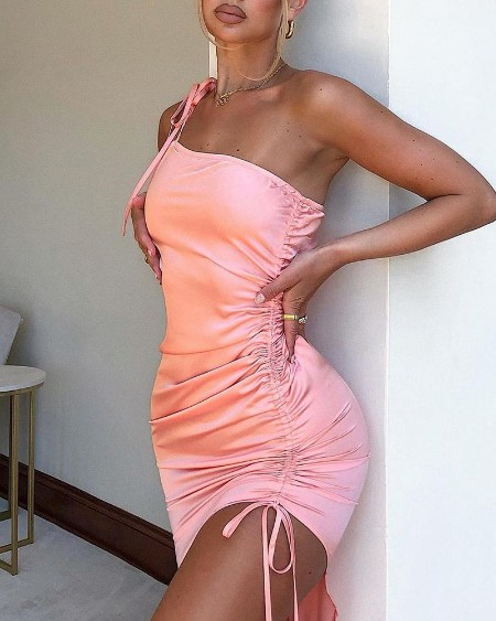 One Shoulder Drawstring Ruched Party Dress