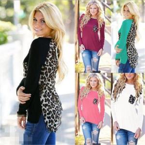 Women's New Fashion Casual Sexy Back Leopard Print Chiffon Blouse O-Neck Long Sleeve T-shirt Tops Plus size