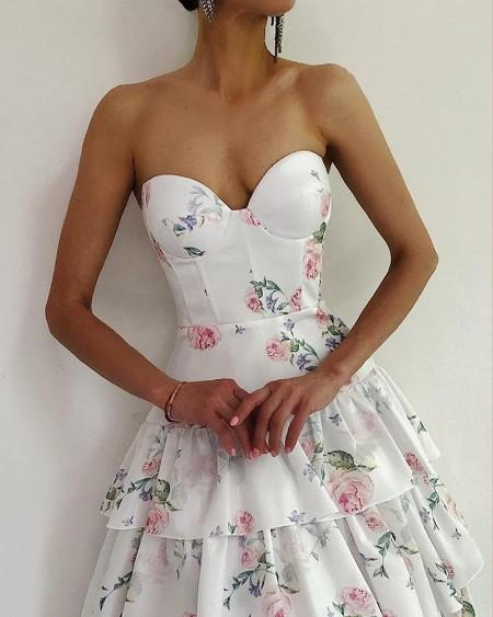 Floral Print Bandeau Tiered Ruffles Maxi Dress
