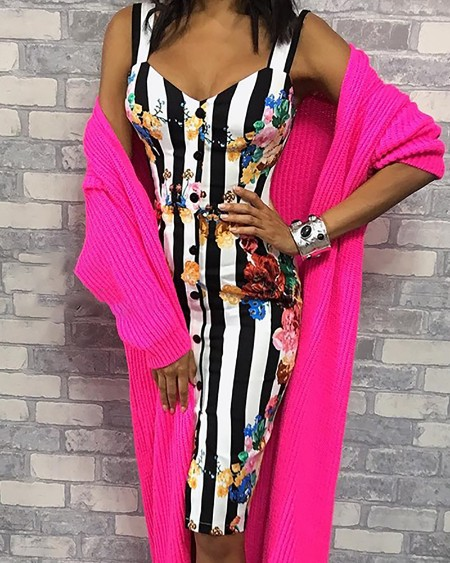 Thin Strap Striped Floral Print Buttoned Dress
