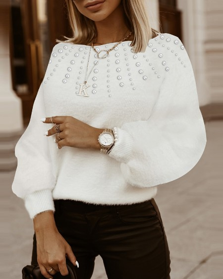 Beaded Fluffy Lantern Sleeve Sweater