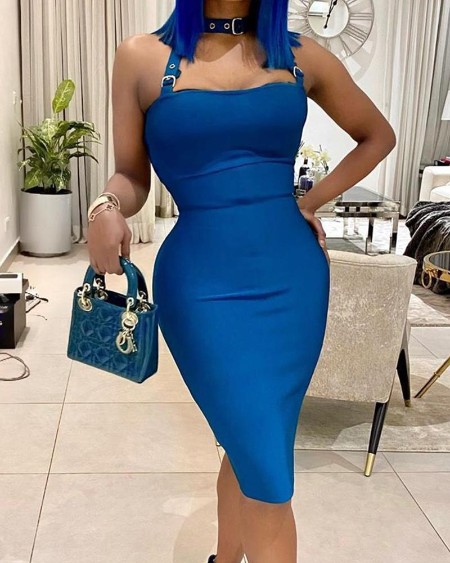 Solid Halter Bodycon Midi Dress
