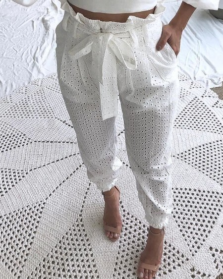 Paperbag Waist Broderie Lace Casual Pants
