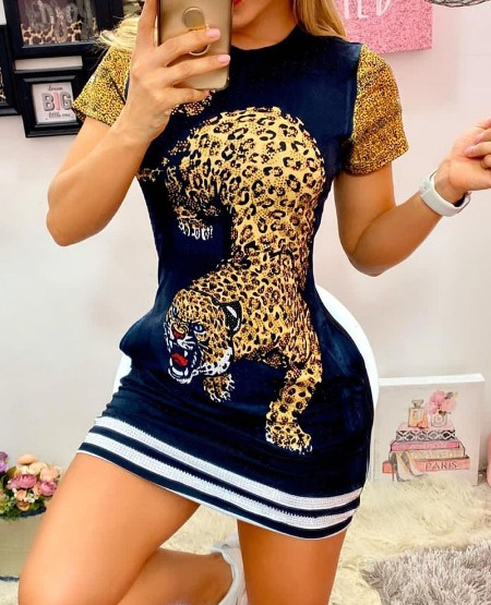 Tiger Print Short Sleeve Casual Dress