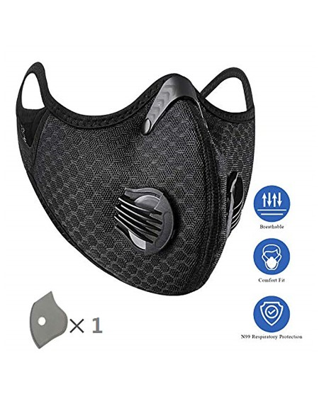 PM2.5 Solid Breathing Washable 2 Valves Face Mask (1 filters as gift)