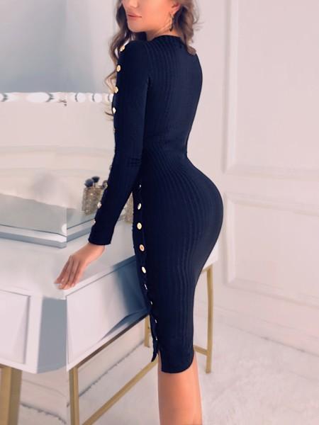 Button Slit Side Long Sleeve Dress