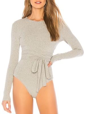 Solid Crisscross Strappy Open Back Bodysuit
