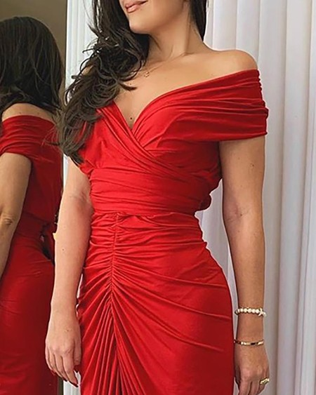 Off Shoulder Ruched High Slit Dress