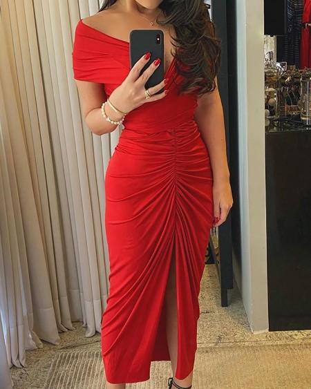 Off Shoulder Ruched High Slit Dress