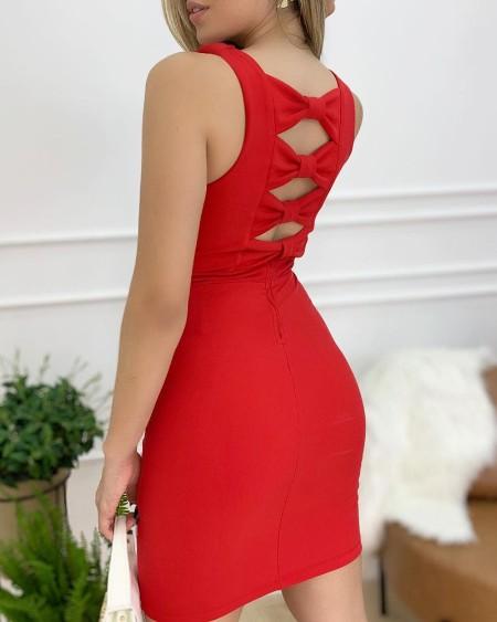 Plain Bowknot Cutout Backless Bodycon Dress