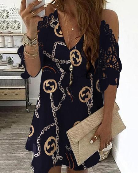 Chain Print Cold Shoulder Crochet Lace Dress